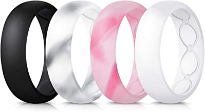 Forthee Breathable Designed Silicone Wedding Ring for Women, 5.7mm Silicone Rubber Band, Durable Wedding Ring Replacement, Comfortable fit, Skin Safe