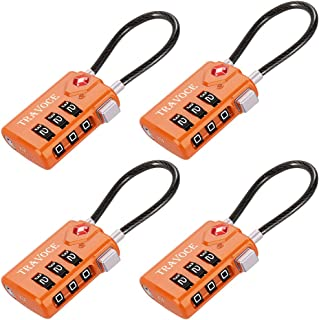 Search Alert TSA Approved Travel Combination Luggage Cable Locks for Suitcase, Gym Locker,Toolbox,Backpack 1,2,4,6 &10 pk