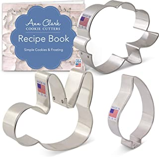 Ann Clark Cookie Cutters 3-Piece Sloth Cookie Cutter Set with Recipe Booklet, Sloth, Teardrop Leaf, and LilaLoa's Rose