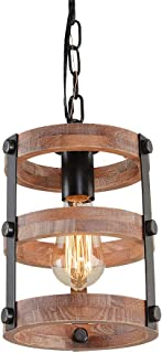 Giluta Circular Wood Pendant Light Farmhouse Kitchen...