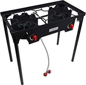Gas One Propane Double Burner Two Burner Camp Stove Outdoor High Pressure Propane 2 Burner Adjustable PSI Regulator and 4ft Steel Braided Hose With Removable Legs
