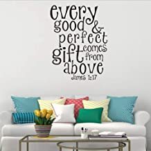 Smydp Bible Verses Every Good Perfect Gift Comes from Above Wall Vinyl Quote Stickers 60X45Cm