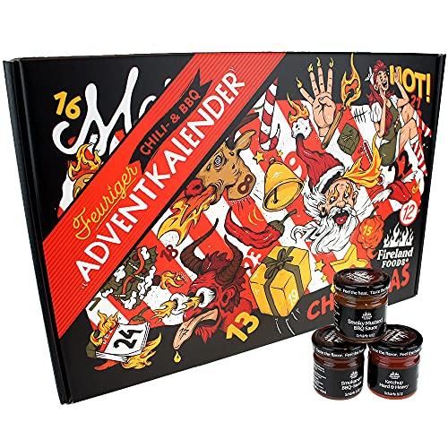 Chili- und BBQ-Adventskalender mit 24 Produkten | von mild bis höllisch | Geschenk für Advent und Weihnachten | Geschenk für Männer | Version mit Türchen | 880g (24x37g)