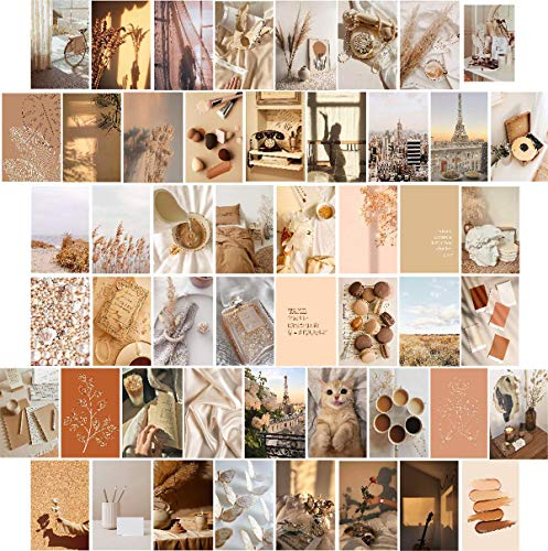 PINEPOEM 50PCS 4x6 inch Wall Posters Wall Art Prints for Girls Room Decor, Aesthetically Pleasing Photos for wall collages, Warm Color Collage Print Kit, Boho Dorm Photo Display Cards