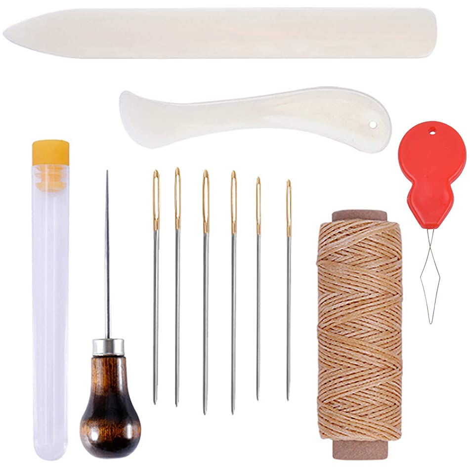 Hendevl Bookbinding Kits, 12 Pieces Bookbinding Supplies - Bone Folder Creaser, Waxed Linen Thread, Wood Handle Awl, Large-Eye Needles for DIY Bookbinding Crafts and Sewing Supplies