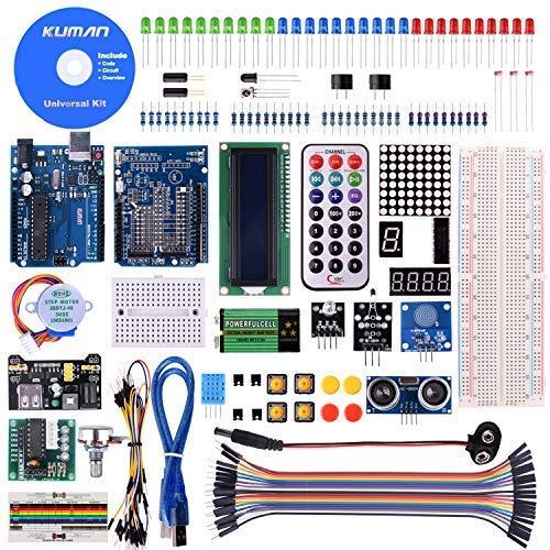 kuman Más Completo y Avanzado de Mega Starter Kit para Arduino Uno-R3 con Guías Tutorial Detallada, MEGA2560, Mega328,5V Motor Paso a Paso, Kit Arduino con Placa K4