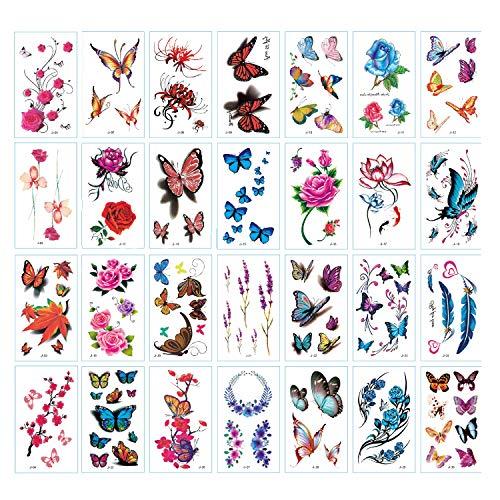 Blumen Schmetterling Tattoos für Frauen, 3D bunte Körperkunst temporäre Tattoos, wasserdichte gefälschte Tattoo Aufkleber, Kinder Schmetterling Party Gefälligkeiten, Sexy Brauthochzeit (Paket A.)