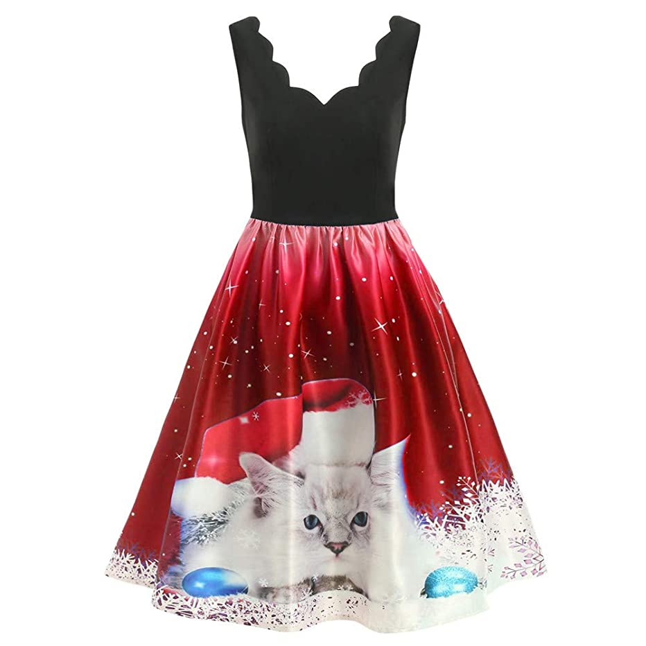 HHei_K Womens Sleeveless V Neck Christmas Cats Musical Notes Print Vintage Patchwork Swing Dress