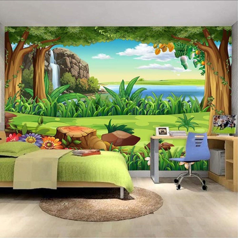 Ponana Papel Tapiz 3D Dibujos Animados Para Nios Bosque Paisaje Foto Murales De Parojo Nios Dormitorio Telón De Fondo De Parojo Decoración Para El Hogar-200X140Cm