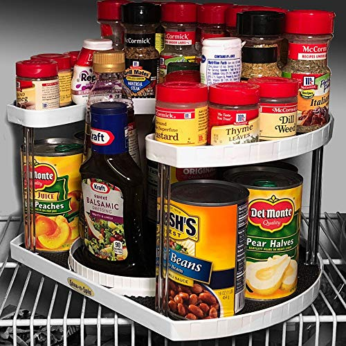 """Stow-n-Spin 2 Tier Lazy Susan Turntable Spice Rack Organizer Rotating Spice Holder Shelf w/Double Spinner Seasoning Organizer Racks for Spices Deluxe Spice Racks for Cabinets w/ 11"""" Deep Shelves"""