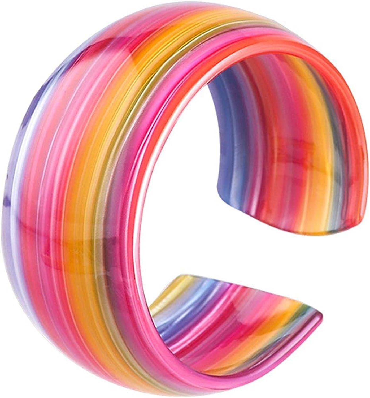 Acrylic Resin Rainbow Bracelet Bangle Colorful Tortoiseshell Acetate Plate Cuff Bracelet Wristbands Vintage Wide C Shaped Plastic Bracelet for Women Teen Girl Jewelry