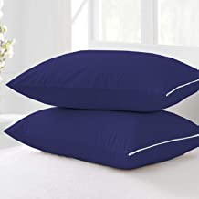 Cloth Fusion Terry Dustproof andWaterproof Pillow Protector Set of 2King Size (20x36 Inch-Navy)