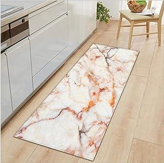 Kitchen mats Cushioned,Carpet Marble Pattern Kitchen Rug Anti-Slip Bathroom Doormat Hallway Floor Rug Absorbent Bedside Ca...