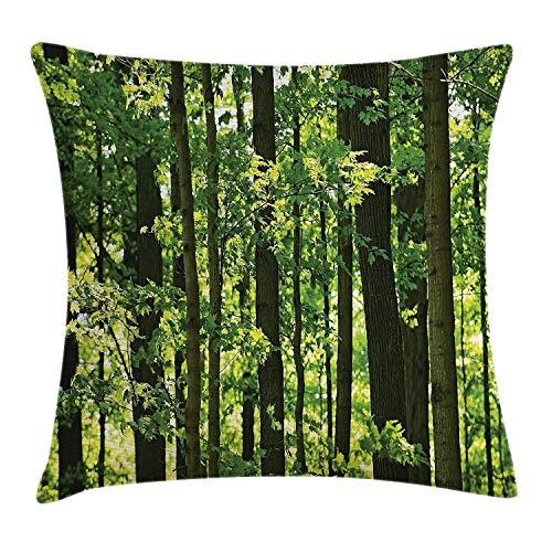 Hectwya Natur-Wurfs-Kissenbezug erfrischender üppiger junger Wald mit kanadischer Ahornbaum-Laub-Umgebung