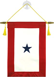 Vanguard Family Member Military Service Banner - One Blue Star Service Banner Flag – 7 ½ Inches by 14 ½ Inches