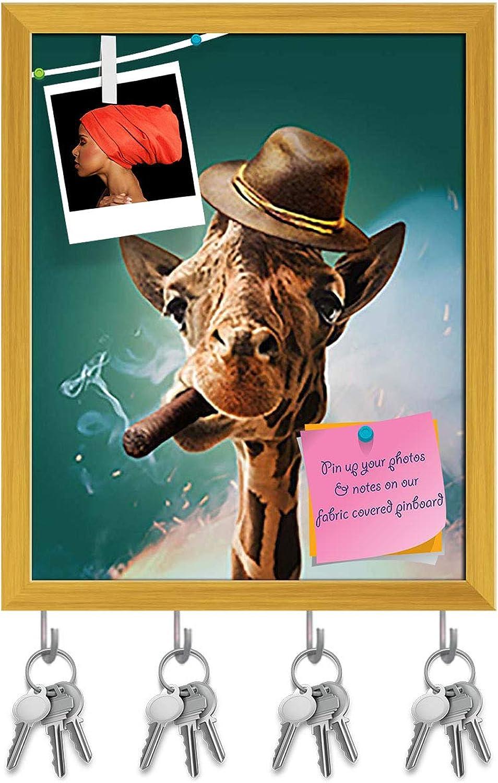 Artzfolio Giraffe with Cigar & Hat Key Holder Hooks   Notice Pin Board   golden Frame 16 X 19.9Inch