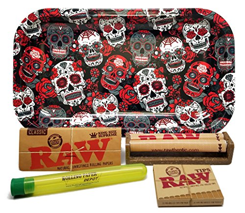 Bundle - 5 Items - RAW King Size Supreme, 110 Roller and Pre-Rolled Tips with Rolling Paper Depot Rolling Tray (Skulls) and Kewl Tube
