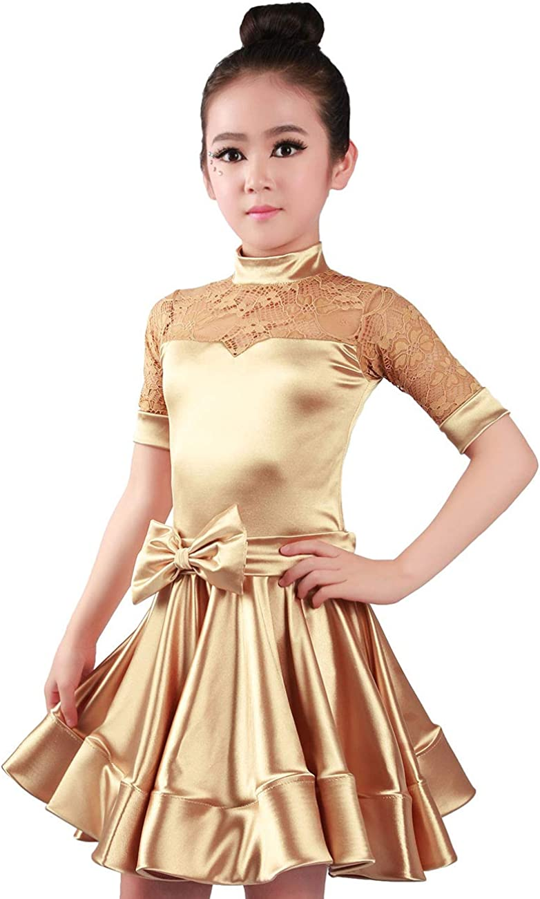sold 2021 spring and summer new out Daydance Girls Latin Dress Glossy Stretch Party Satin Texture Pr