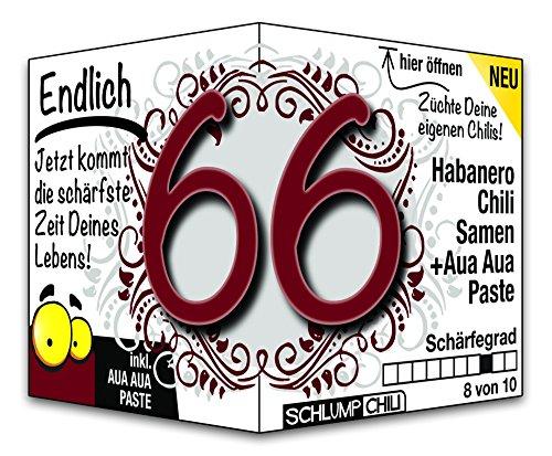 Schlump-Chili⎥Endlich 66 - das witzige scharfe Geburtstagsgeschenk. Eine originelle Geschenkidee zum 66. Geburtstag für Männer und Frauen :)