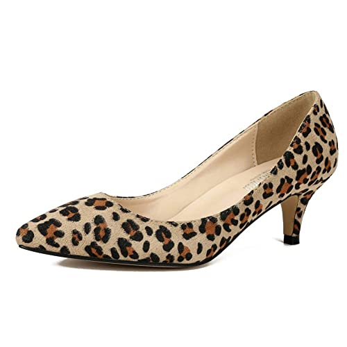 9215be1723 MAIERNISI JESSI Women's Classic Slip On Pointed Toe Kitten Heel Dress Pumps  Shoes