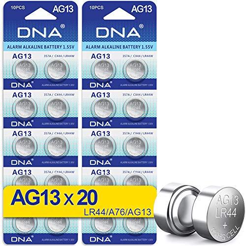 DNA AG13/LR44 Batterie, 20 Stück – mehrfarbig (20er-Packung)
