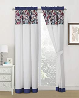 WPM WORLD PRODUCTS MART 4 Pieces Curtain Set: Paisley Print Purple Whiet Color Luxury Panels Drapes with tie Backs for Bed...