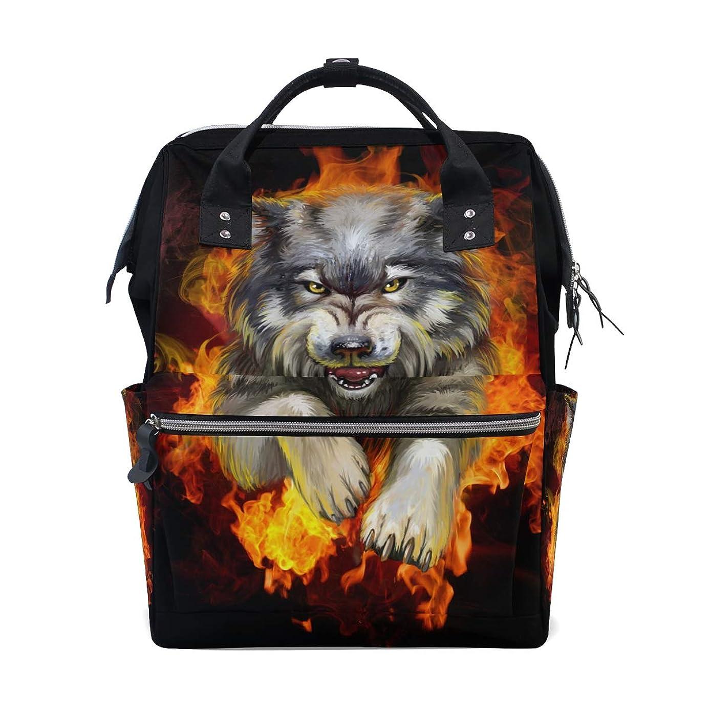 Anger Wolf Fire School Backpack Large Capacity Mummy Bags Laptop Handbag Casual Travel Rucksack Satchel For Women Men Adult Teen Children