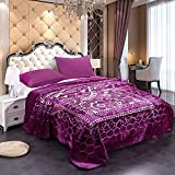 JML Fleece Blanket King Size, Heavy Korean Mink Blanket 85 X 95 Inches- 9 Lbs, Single Ply, Soft and Warm, Thick Raschel Printed Mink Blanket for Autumn,Winter,Bed,Home,Gifts, PurpleFlower