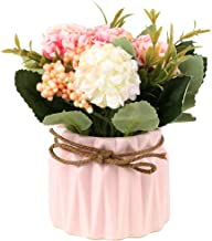 SUPNIU Artificial Hydrangea Bouquet with Small Ceramic Vase Fake Silk Variety Flower..