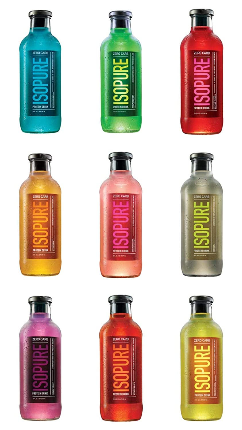 Nature's Best Isopure Protein Drink, 100% Whey Protein Isolate, Zero Carb, Keto Friendly, Ready-to-Drink, One of each Flavor Variety, 20-Ounce/9 Bottles