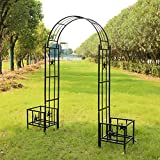 Kinbor Metal Arbor with Planters Garden Arch Trellis for Climbing Plants Lawn Backyard, Black