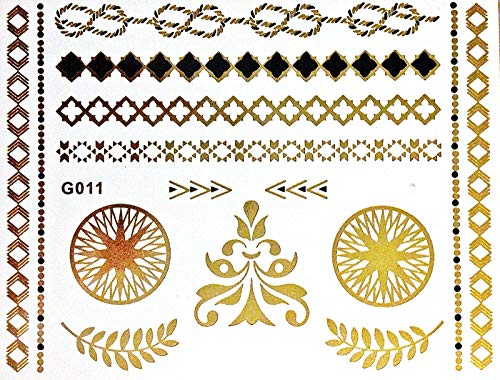 Superbe Flash une fois Tattoo Métal Or Noir adhésives pour les doigts bras Corps Idéal pour la plage Disco Party Mariage Fête Carnaval G11