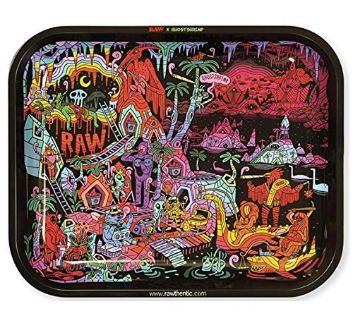 RAW Artist Series: GHOST SHRIMP Metal Rolling Tray - Large 14' x 11'