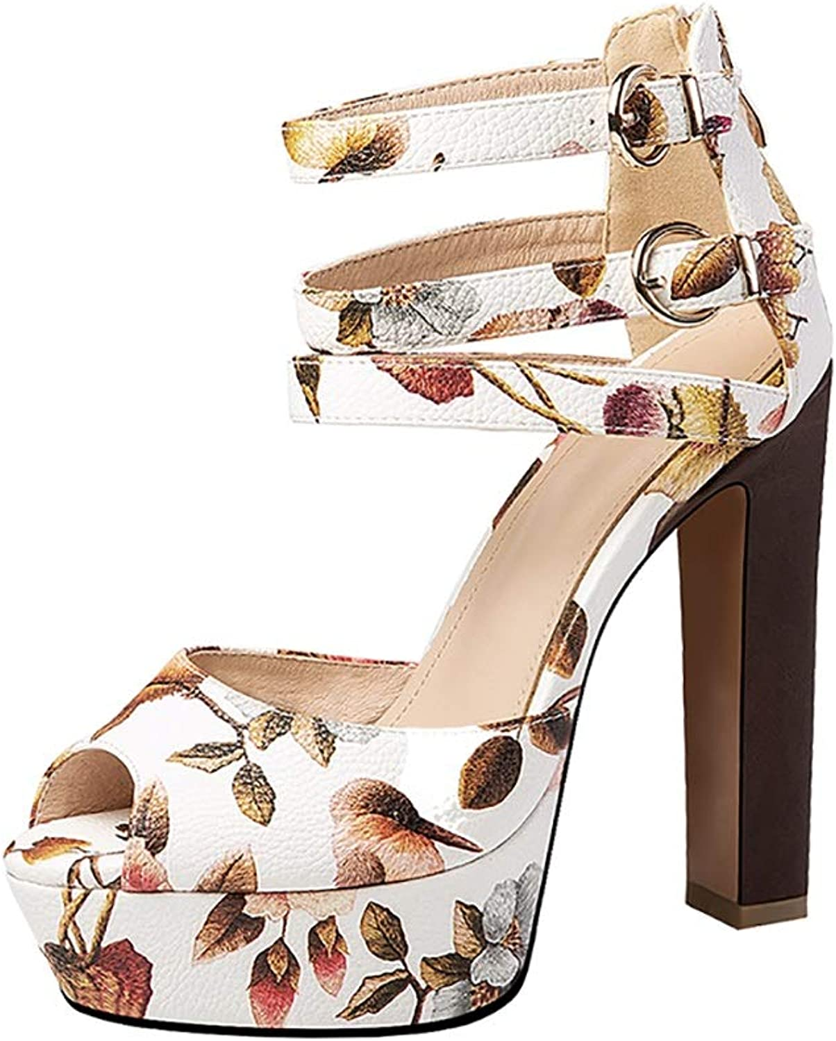 Women's Sandals, Thin Belt Roman Buckle High-Heeled Fish Mouth shoes Sweet Dress shoes (color   White, Size   8 US)