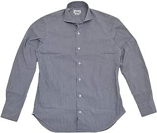(ジャンネット)GIANNETTO 長袖シャツ メンズ ストレッチシャツ ブルーネイビー&ホワイト 正規取扱店