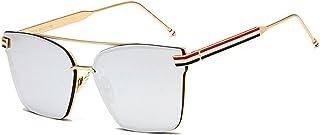 WANGFENG جديد فاخر مصمم السيدات مربع النظارات الشمسية النساء الرجال معدن مرآة نظارات الشمس للإناث uv400 sunglasses (Lenses...