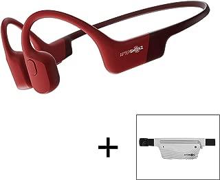 AfterShokz Aeropex Open-Ear Wireless Bone Conduction Headphones with Sport Belt, Solar Red