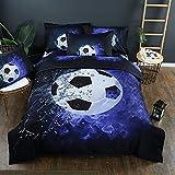 Stillshine Juego de funda nórdica diseño de balones de fútbol y baloncesto juego de funda de edredón y funda de almohada juego de cama (Fútbol, 180 x 220 cm - Cama 105/90 cm)