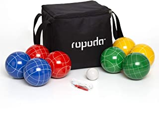 RPPODA 90mm Bocce Ball Set with 8 Balls, Pallino, Case and Measuring Rope for Backyard, Lawn, Beach & More (4 to 8 Person Bocce Ball Set)