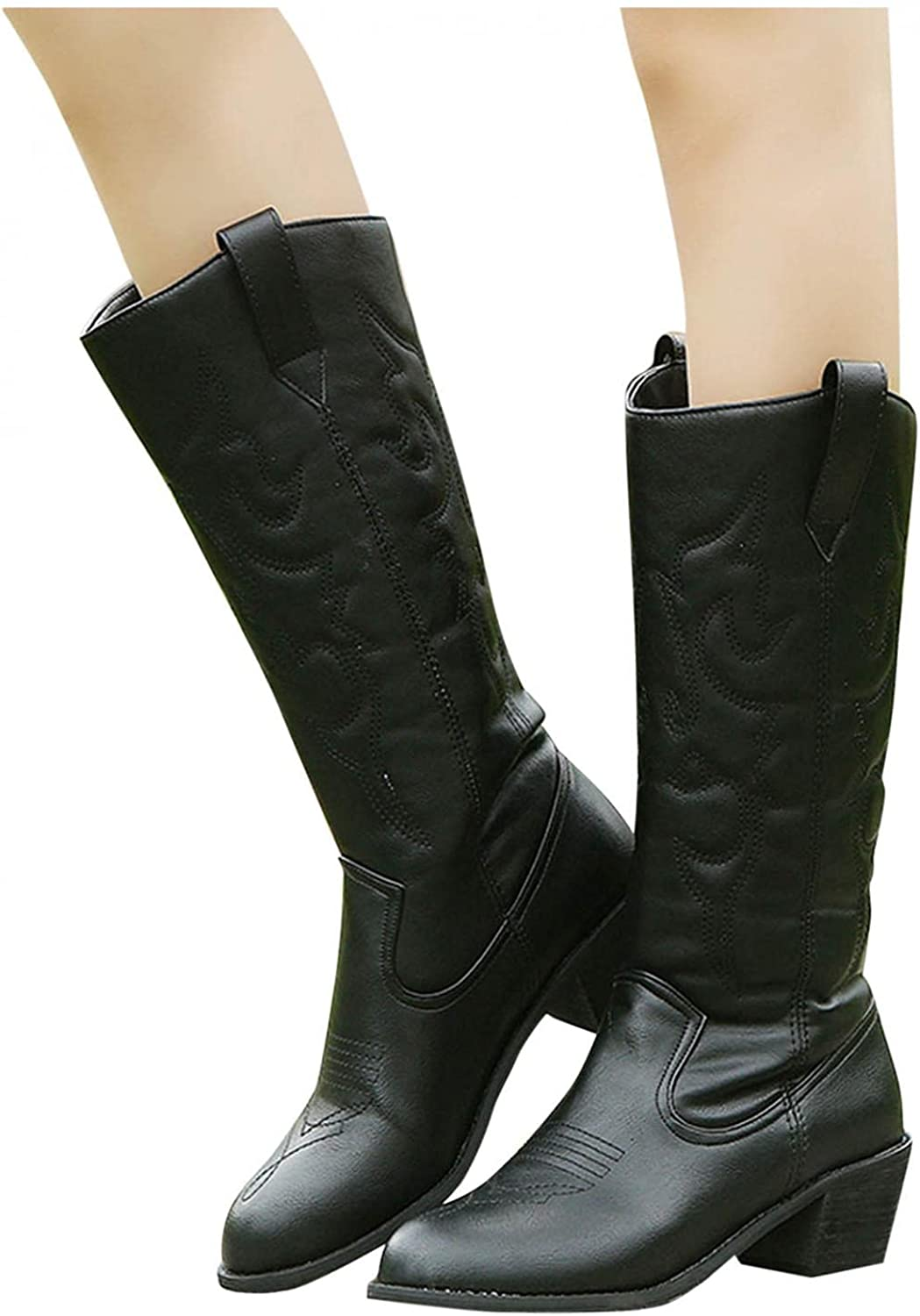 Omaha Mall Eduavar security Ankle Boots for Women Fashion Cowboy Wide Calf Flat Boot