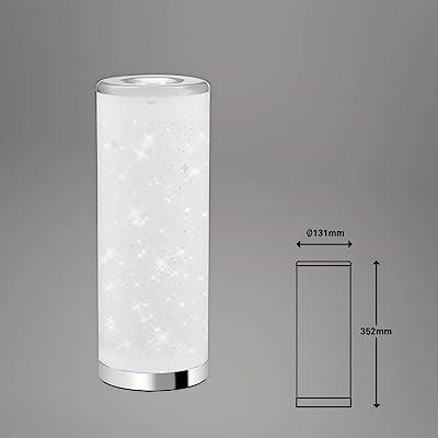 Briloner Leuchten - Lampe de table LED, lampe de table effet étoile, avec interrupteur à cordon, 5 Watt, 400 Lumen, 3.000 Kelvin, blanc-chrome, 352x131mm (HxD)