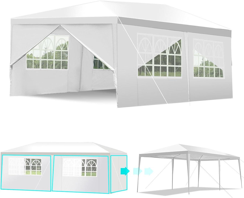 COSTWAY Partyzelt Gartenzelt Hochzeit Festzelt Pavillon Zelt Gartenpavillon UV-Schutz Bierzelt mit Fenster 3x6m (Wei)