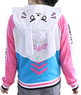 GK-O Overwatch OW DVA Thicken Hoodie Baseball Jacket Cosplay Costume Coats