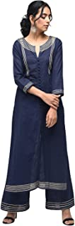 Zoeyams Womens Navy Blue Cotton Slub Solid Print Long Straight Kurti With Cotton Palazzo