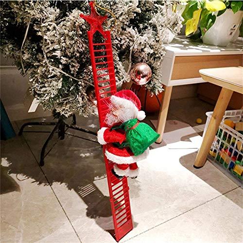 Electric Climbing Santa - Limited Edition, Climbing Santa Claus On Ladder with Lights, Novelties Christmas Creative Decoration Plush Electric Climbing Santa On Ladder, Christmas Tree Ornament Decors