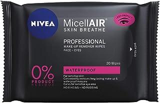 NIVEA MicellAIR Professional Micellar Make-Up Remover Wipes 20 Wipes, Micellar Make Up Wipes, Skin Cleanser, Professional ...