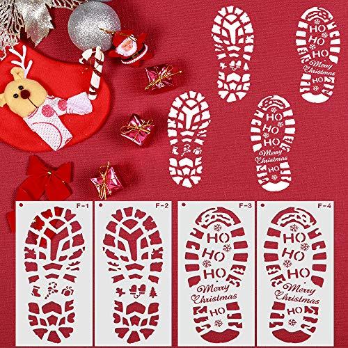 Speyang Weihnachtsmann-Fußabdrücke Schablone, Wiederverwendbar Schablonen Weihnachten Kinder, Weihnachts Schablonen Zeichnung, Schneeflocke Zeichenschablonen Malschablonen (4 Stück)