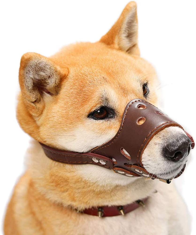 HITNEXT Dog Muzzle Gentle Free Shipping Cheap Bargain Gift Leather for SEAL limited product muzzles Brown Anti-Ba