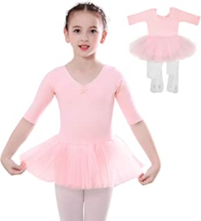 Girls Ballet Tutu Leotard with 2-Pair Convertible Ballet Tights, Sinuo Ballet Dance Dress for Toddlers Kids, Age 2-8