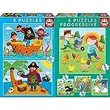 Educa Piratas 2 Puzzles De 20 Piezas, Multicolor (17149) + Animales De La Granja 4 Puzzles Progresivos, Multicolor, 17145